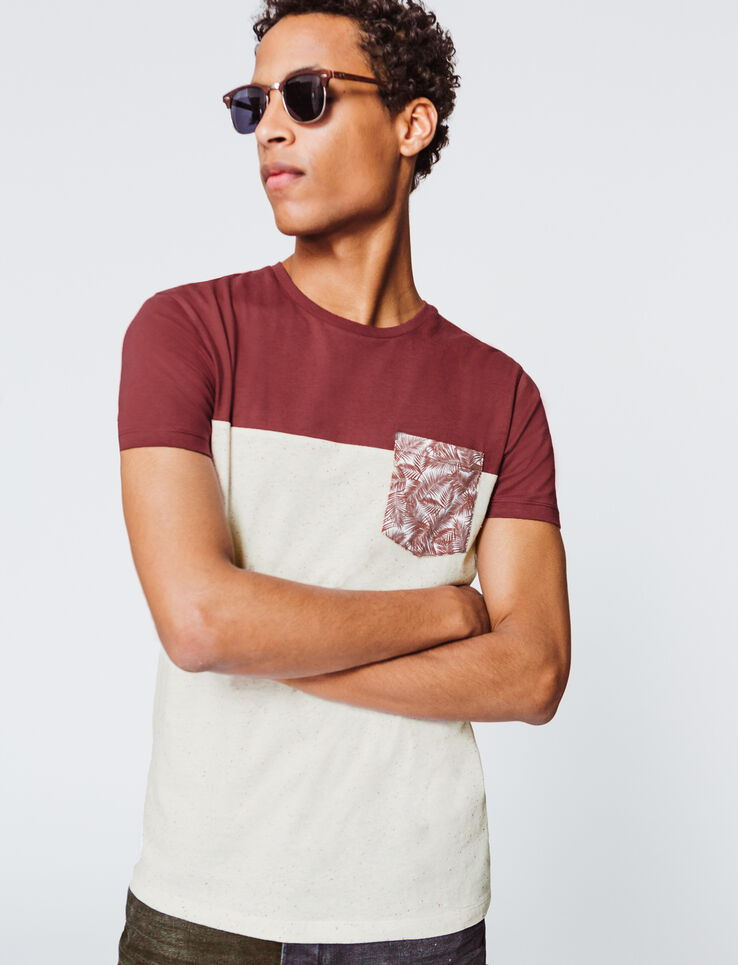 T-shirt color block poche a motif feuille
