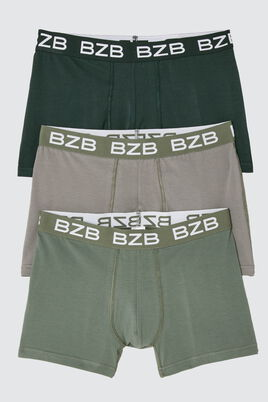 Boxers Unis Vert Coton IAB, lot*3