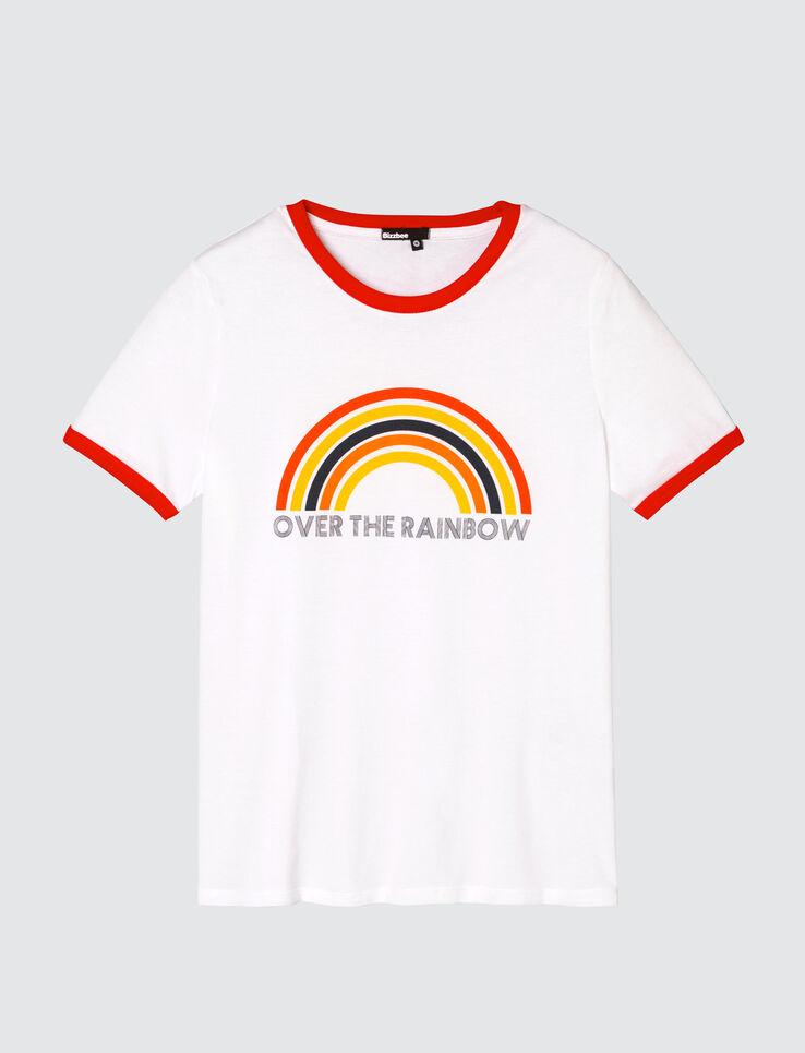 "T-shirt arc-en-ciel message ""over the rainbow"""