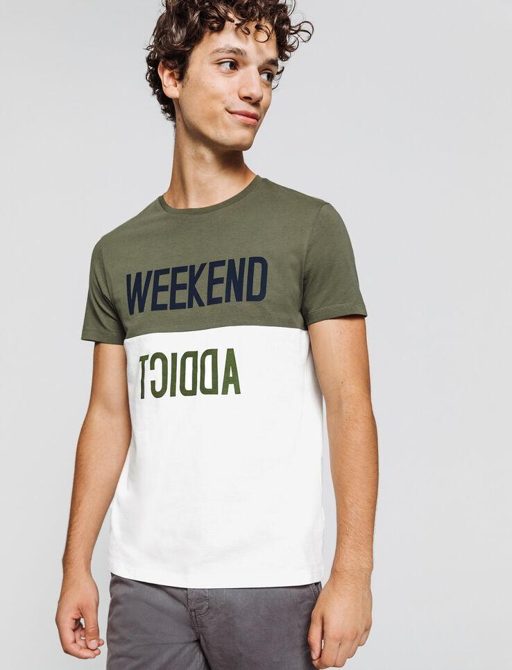 T-shirt colorblock à message