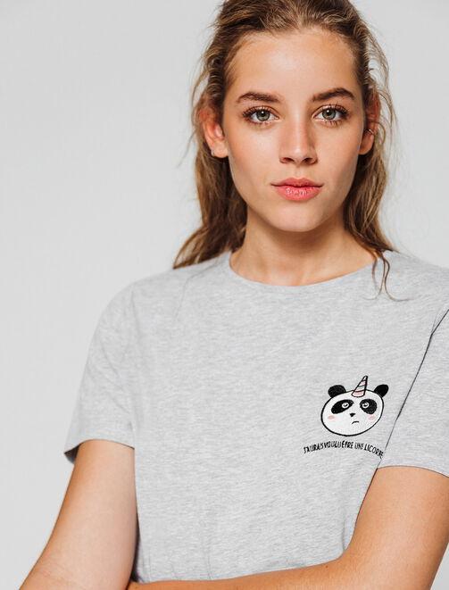 T-shirt patch panda licorne femme