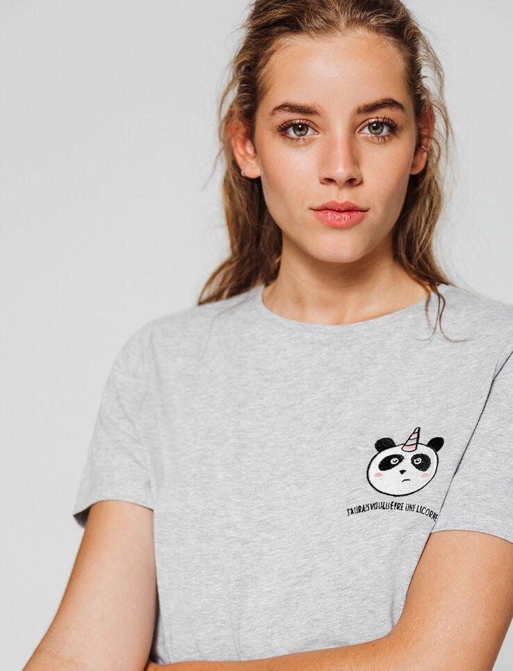 T-shirt patch panda licorne
