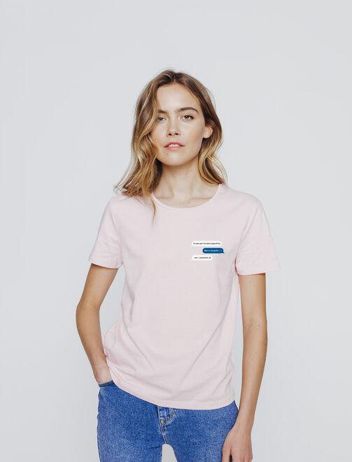T-shirt message humour façon texto femme
