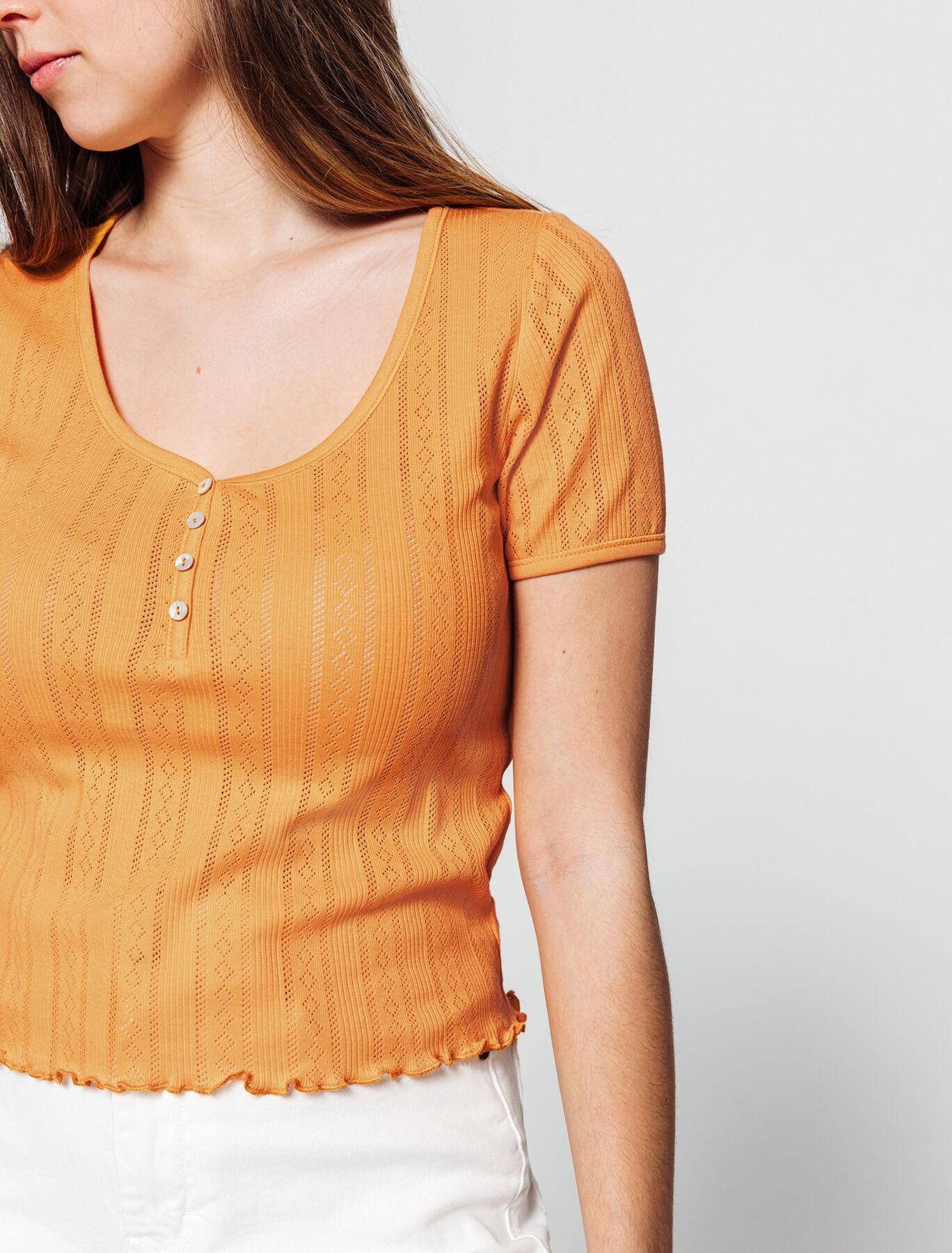 T-shirt à côtes fantaisie boutonné