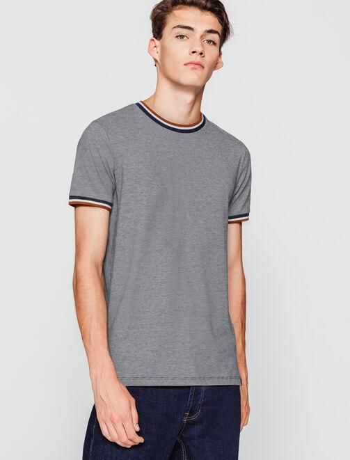 T-shirt rayé bord côte fantaisie homme