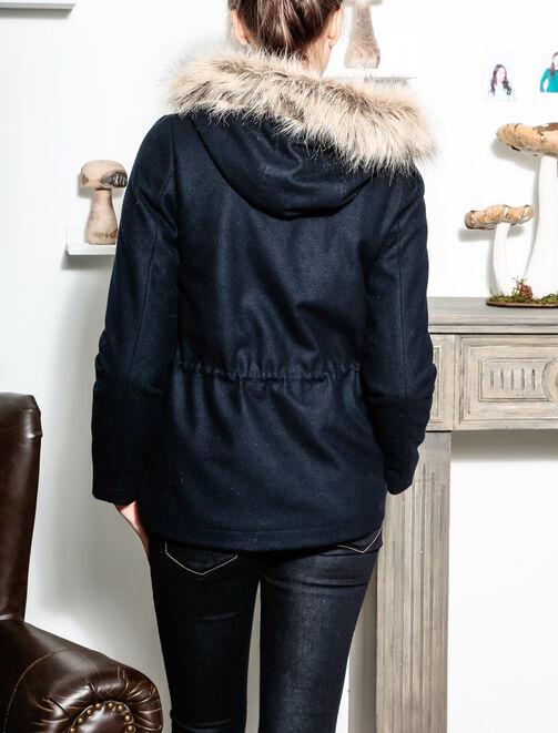 Manteau court lainage coulissé avec capuche femme