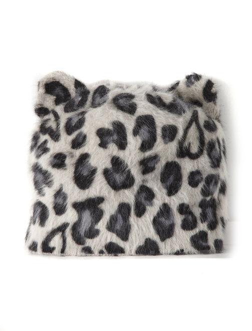 Bonnet oreille de chat print léopard femme