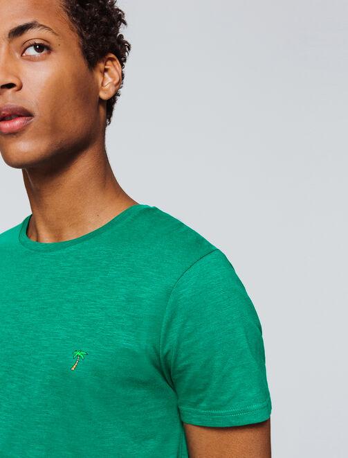 T-shirt uni broderie palmier homme
