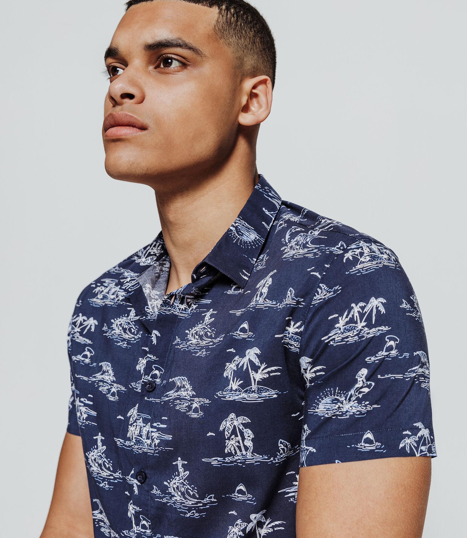 Chemise manches courtes imprimée Hawaï