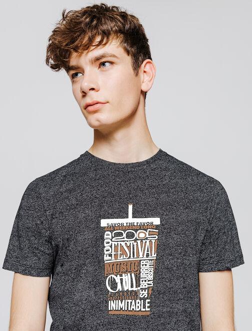 T-shirt mouliné print humour homme