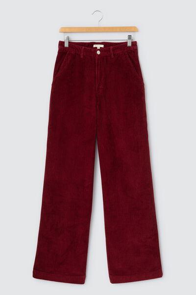 Pantalon wide leg velours long