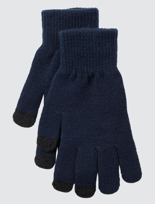 Gants en tricot tactiles homme