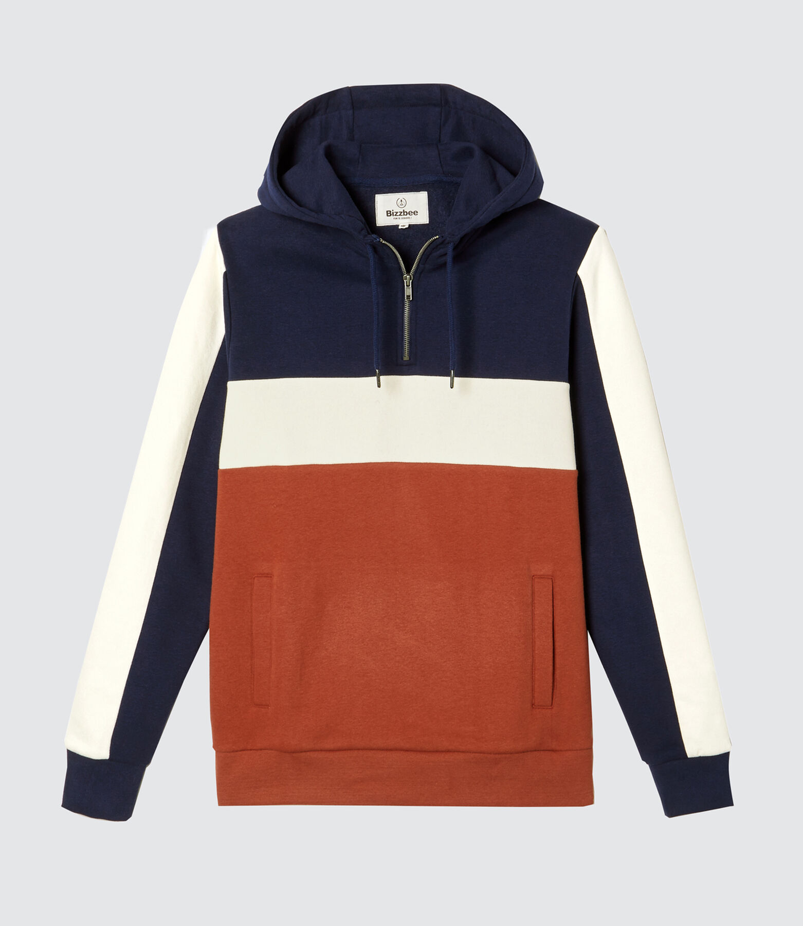 Sweat à capuche demi-zip colorblock
