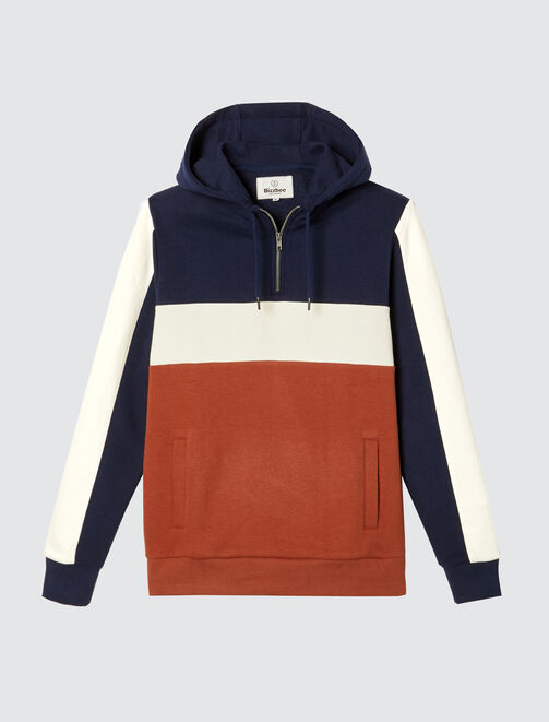 Sweat à capuche demi-zip colorblock homme