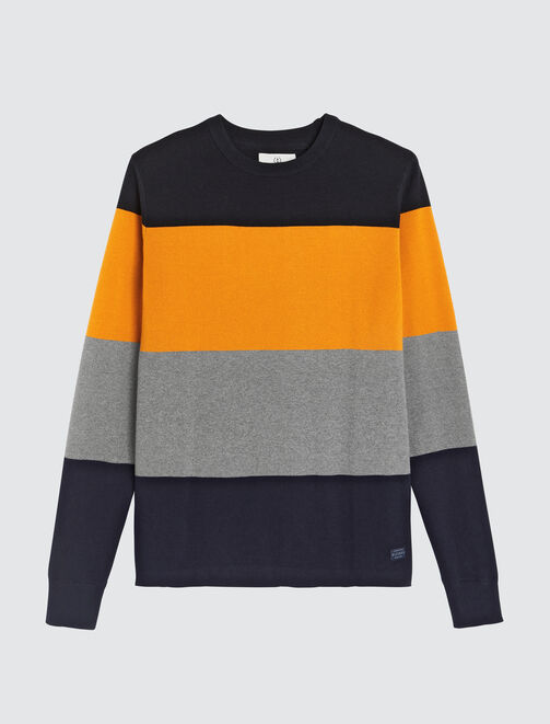 Pull fantaisie milano bandes rayées homme