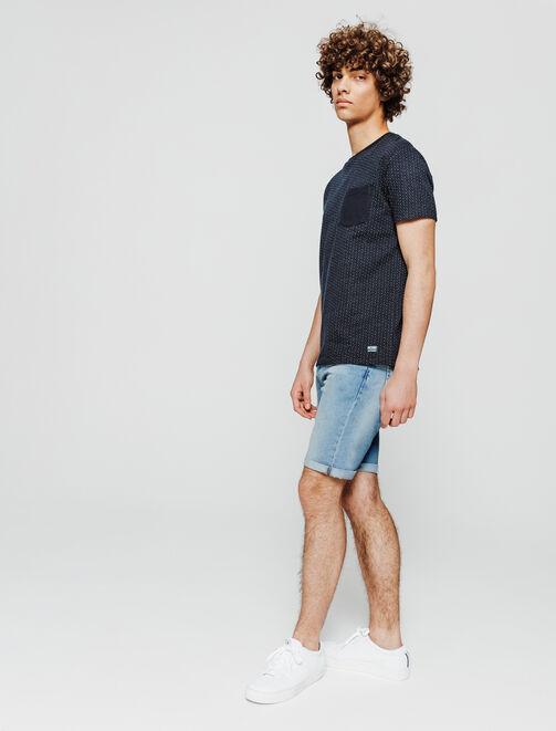 Bermuda en jean bleached.  homme