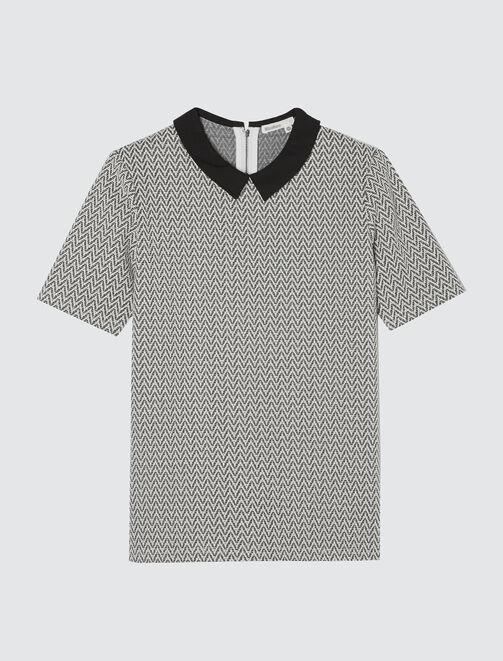 T-shirt jacquard col chemise  femme