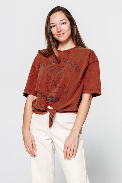 T-shirt noué imprimé western