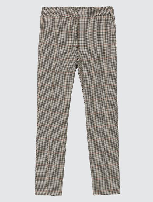 Pantalon cigarette carreaux femme