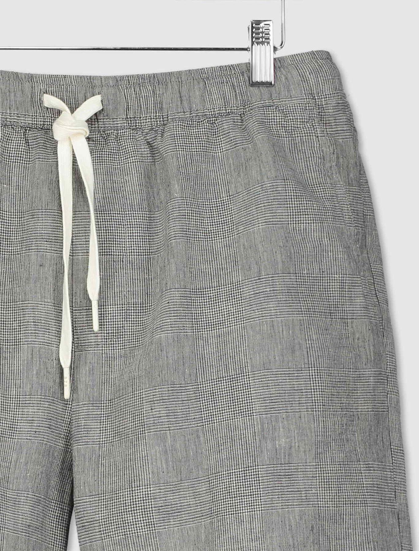 Bermuda à carreaux coton lin