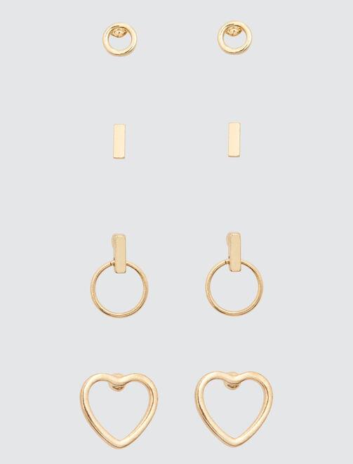 Set de Boucles d'Oreilles Cœur  femme