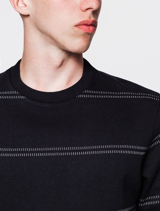 Sweat-shirt col rond avec rayures coutures