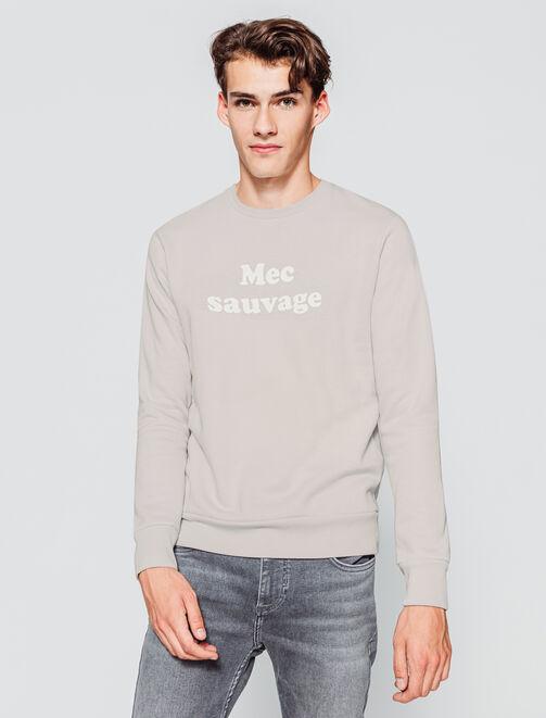 """Sweat à message """"Mec sauvage"""" homme"""