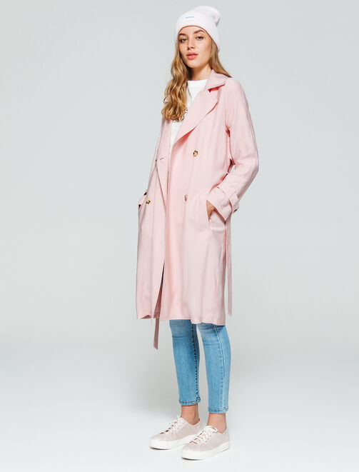Trench long fluide femme
