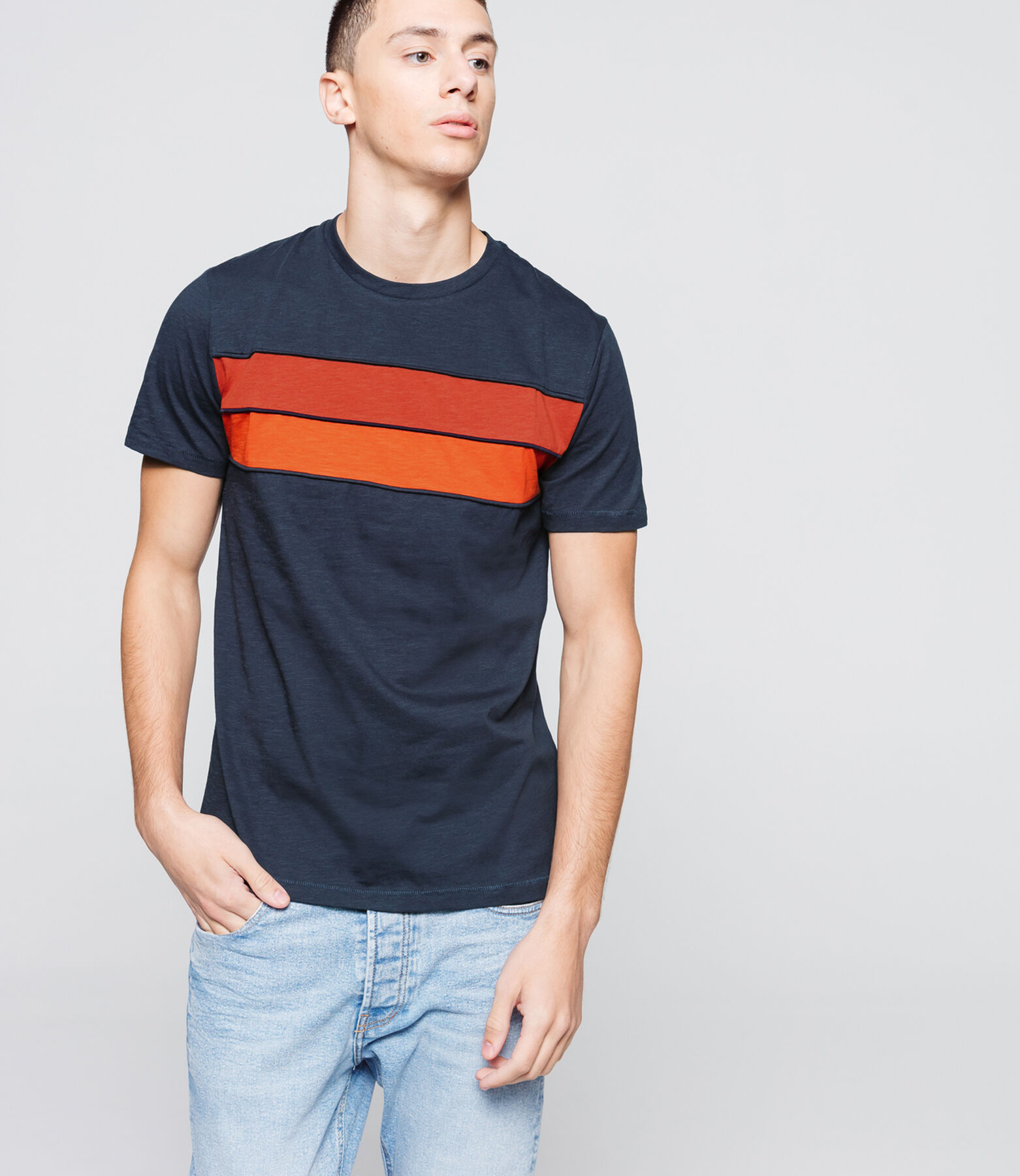 T-shirt bandes colorblock