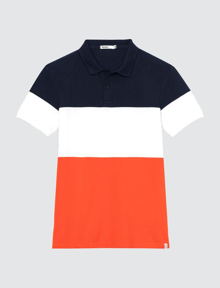 Polo colorblock bandes tricolore
