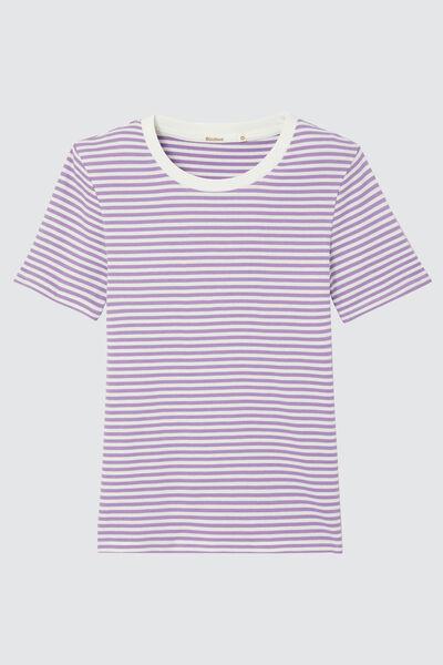 T-shirt côtelé à rayures en coton bio