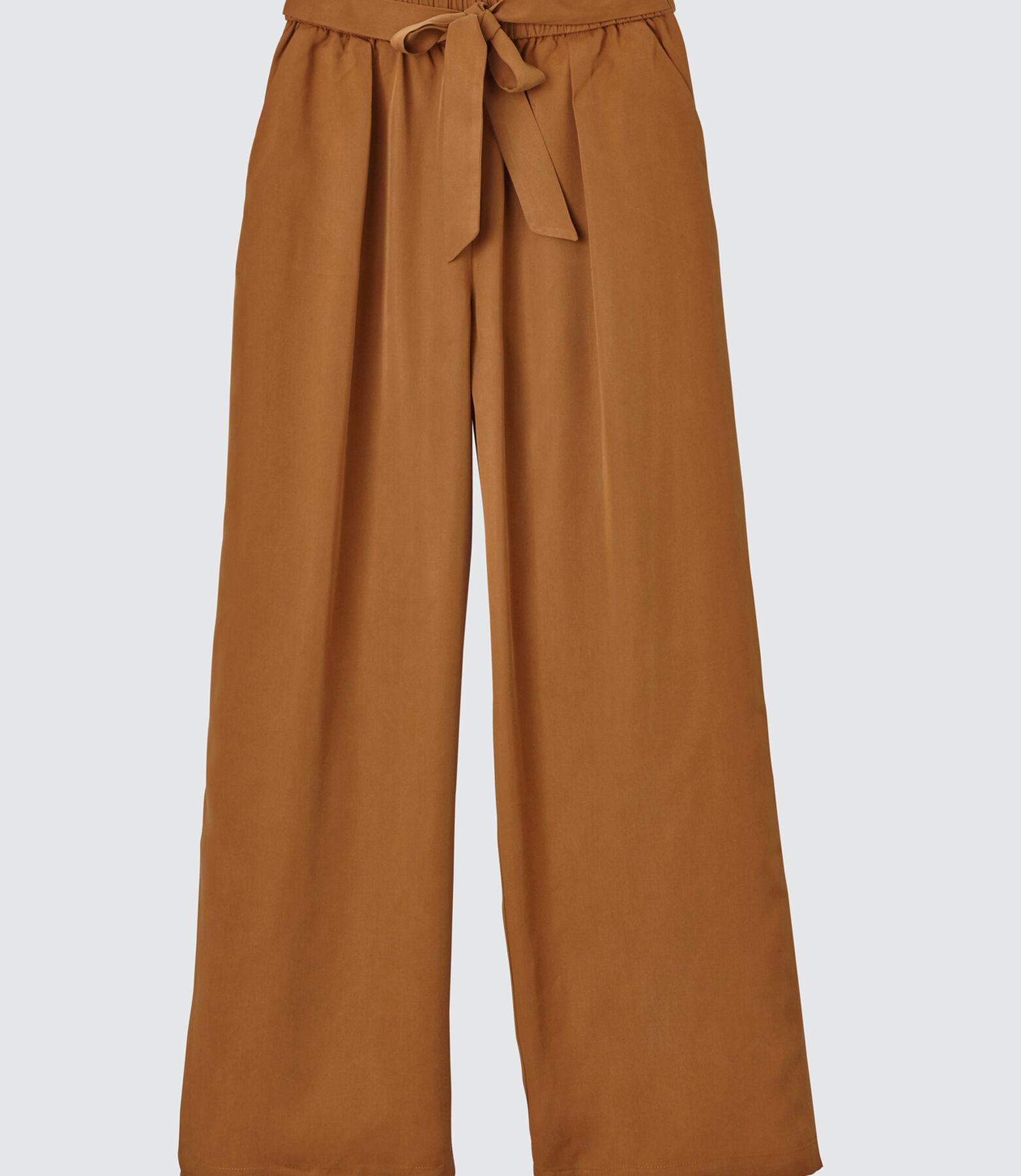 Pantalon large cropped uni taille élastique