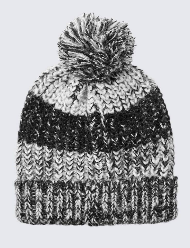 Bonnet Pompon Tricot Rayures Graphiques Gris