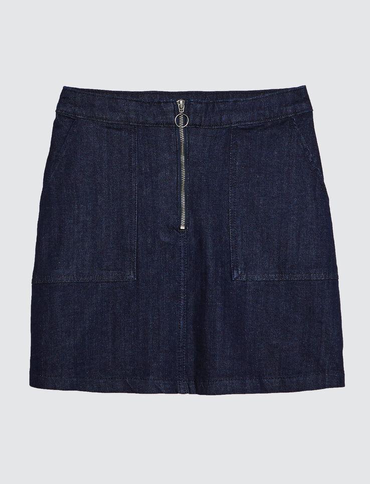 jupe droite denim zippée devant