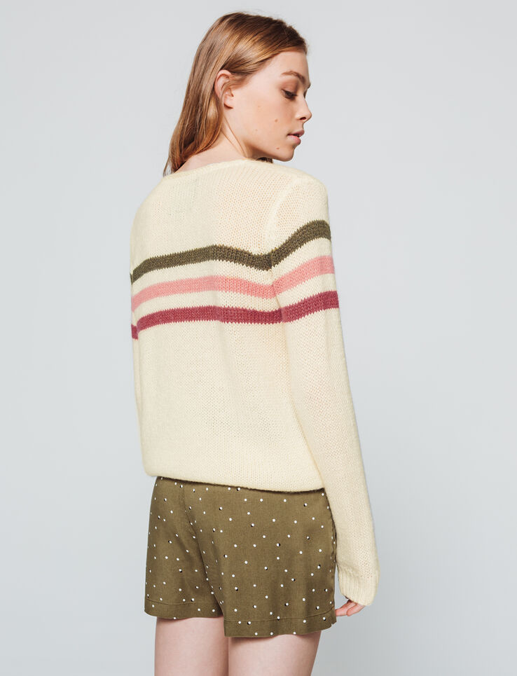 Pull col rond rayure
