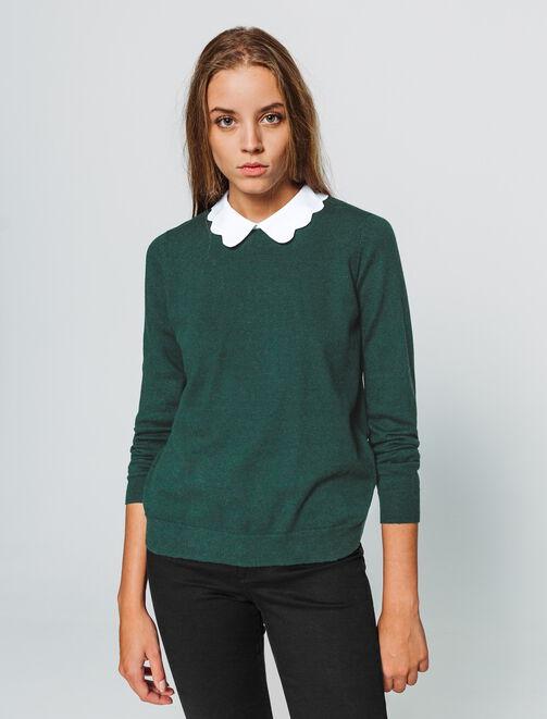 Pull col chemise  femme