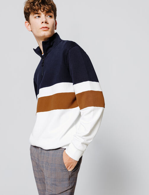 Sweat col montant loose fit colorblock homme