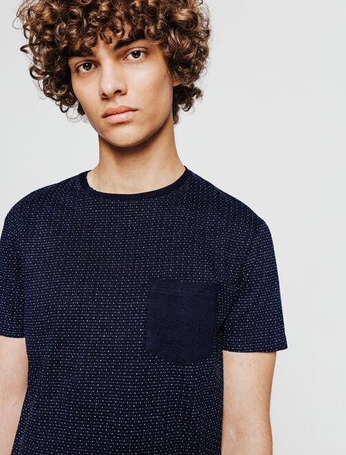 T-shirt damier avec poche uni homme