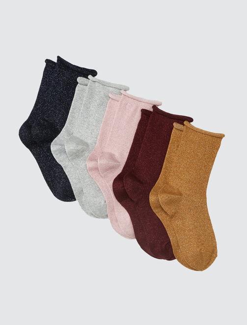 Lot de chaussettes lurex roulottées femme
