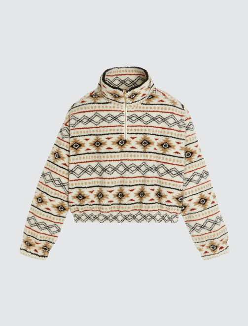 Sweat col montant sherpa ethnique femme