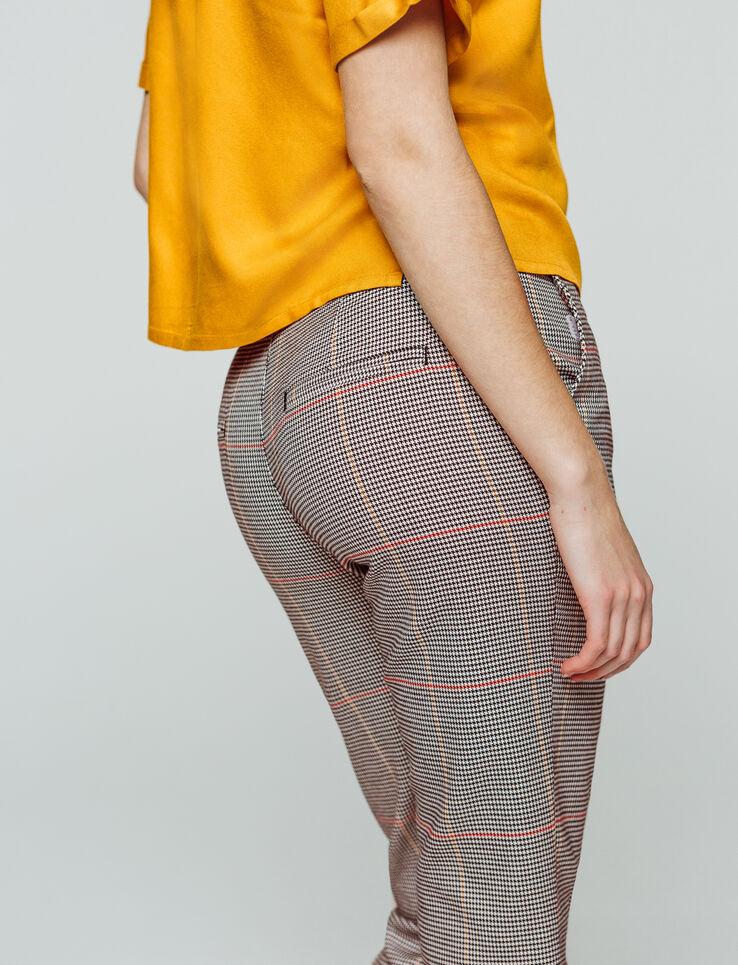 Pantalon cropped carreaux taille élastiquée