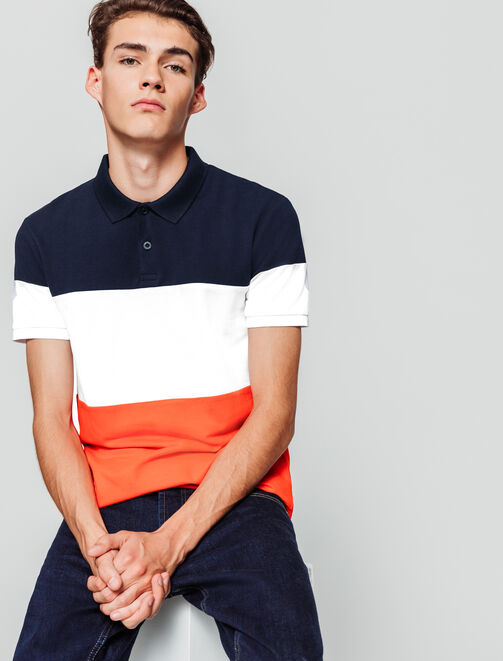 Polo colorblock bandes tricolore homme