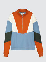 Sweat col montant colorblock