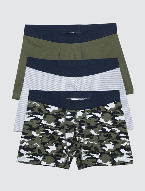 Lot 3 boxers camouflage homme