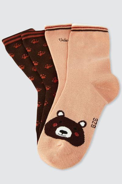 Lot de 2 chaussettes fantaisies ours