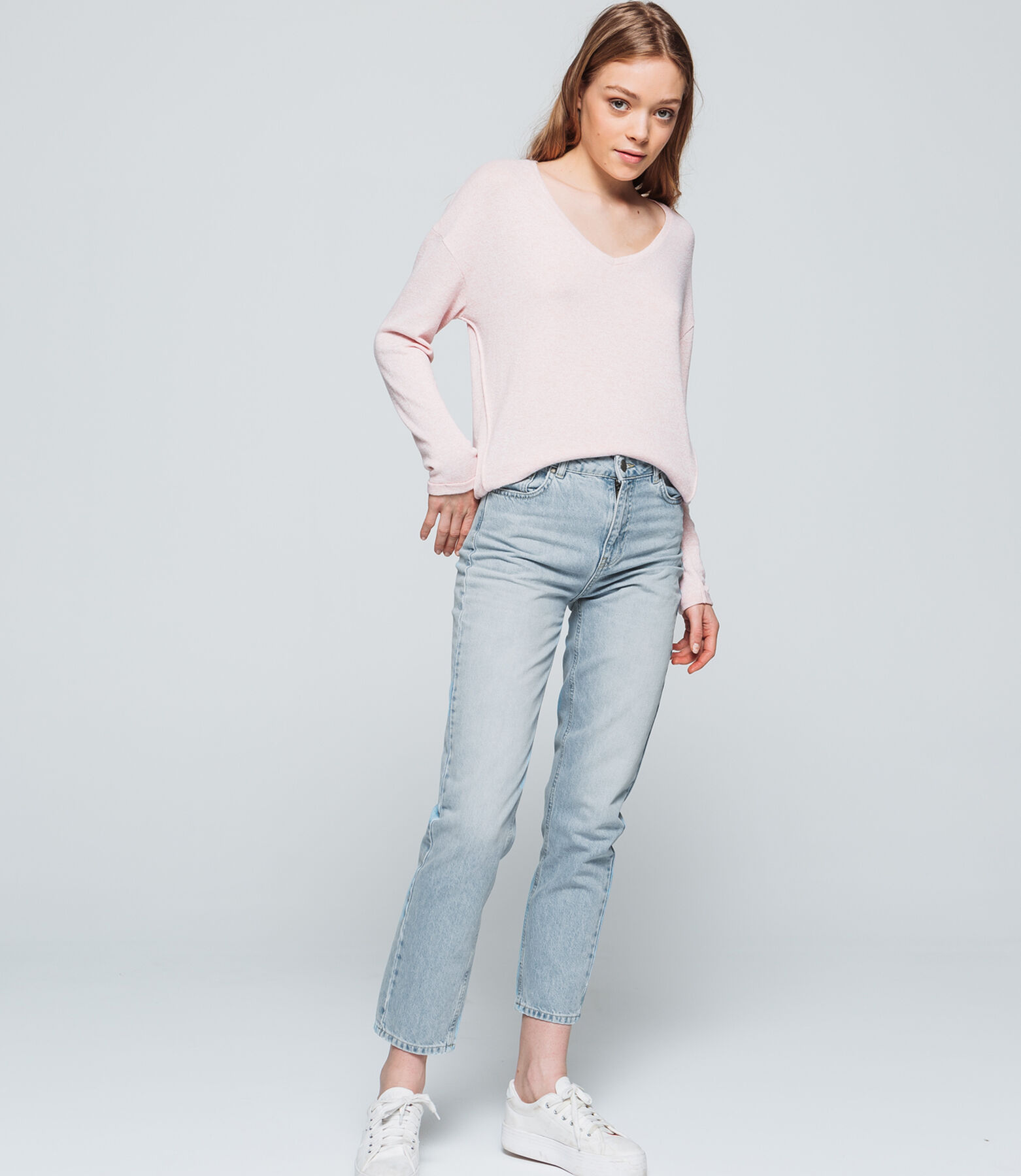 Jean denim relaxed fit taille haute