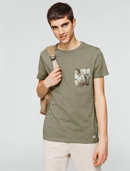 T-shirt uni poche imprimée homme