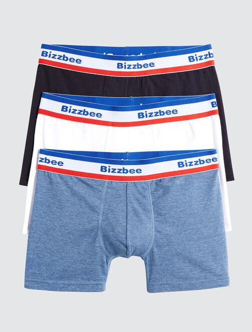Lot de 3 Boxers Unis Ceinture Bleu Blanc Rouge homme