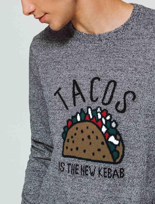 Pull en jacquard imprimé logo Tacos homme