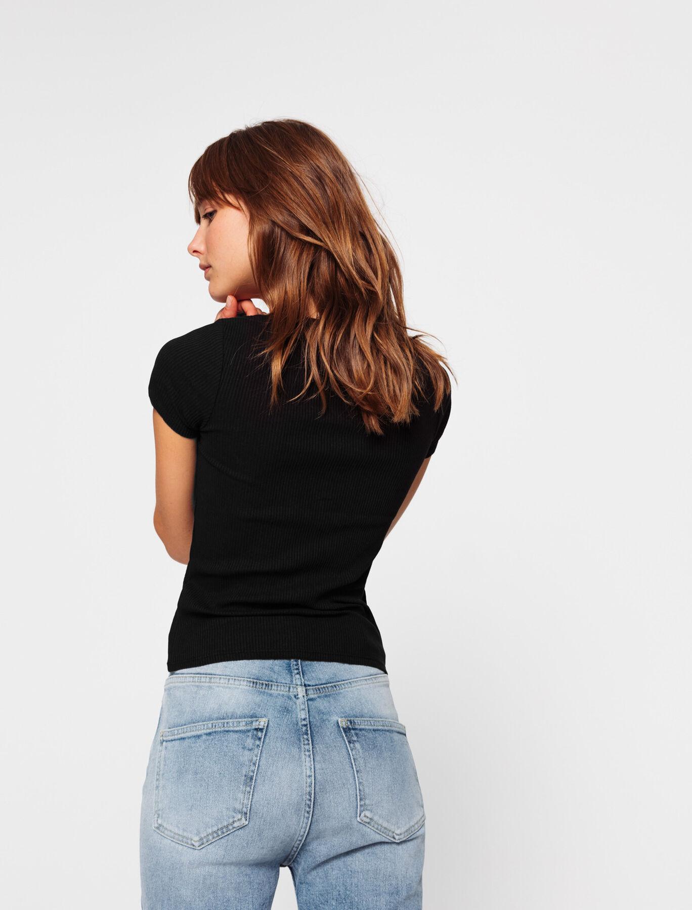 T-shirt boutonné à côtes